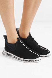 Miu Miu Logo-embossed embellished stretch-knit and neoprene sneakers