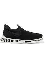 Logo-embossed embellished stretch-knit and neoprene sneakers