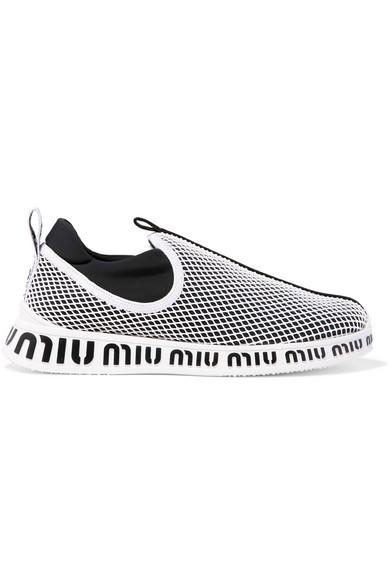Logo-Print Neoprene And Mesh Slip-On Sneakers in Black