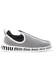 Miu Miu Logo-print neoprene and mesh slip-on sneakers