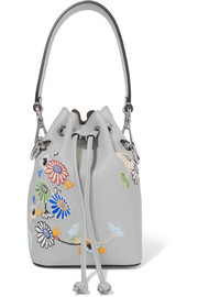 Mon Trésor small embroidered leather bucket bag