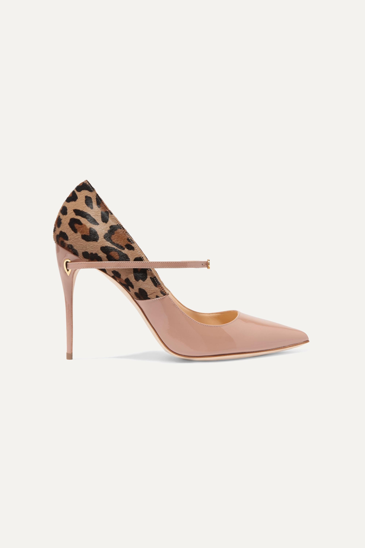 Jennifer Chamandi Lorenzo 105 leopard-print calf hair and patent-leather pumps