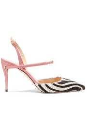 Jennifer Chamandi Vittorio patent-leather and zebra-print calf hair slingback pumps