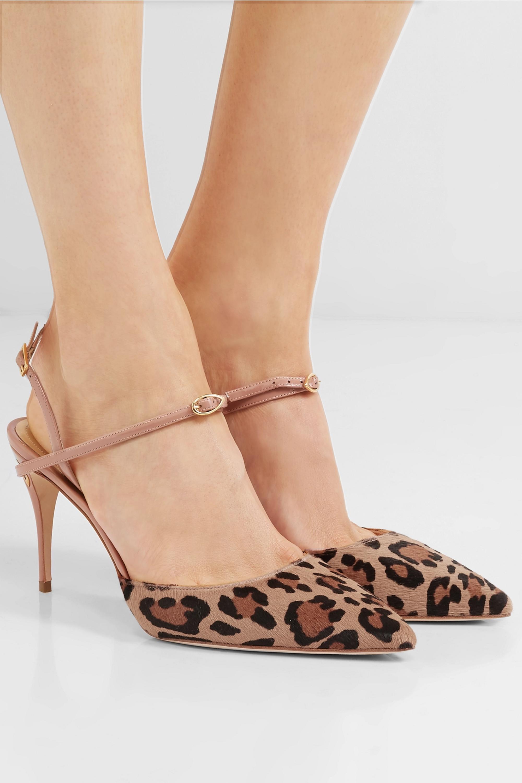Jennifer Chamandi Vittorio 85 leopard-print calf hair and patent-leather slingback pumps