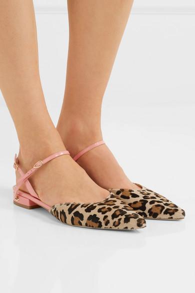 Vittorio Leopard-print Calf Hair And Patent-leather Point-toe Flats - Leopard print Jennifer Chamandi 64mkjIddzB
