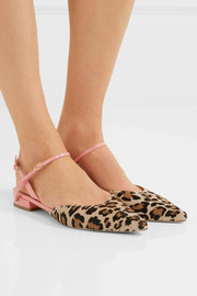 Vittorio leopard-print calf hair and patent-leather point-toe flats