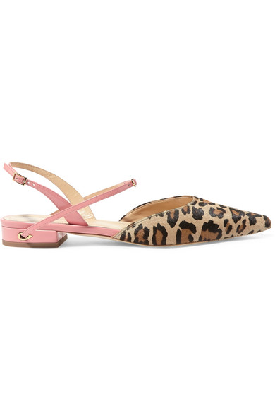 Vittorio Leopard-print Calf Hair And Patent-leather Point-toe Flats - Leopard print Jennifer Chamandi me5BN