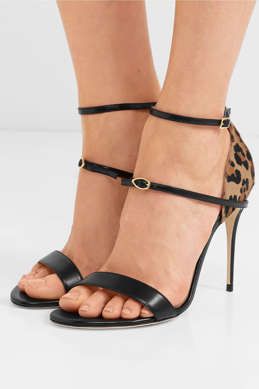 Jennifer Chamandi Rolando 105 leopard-print calf hair and leather sandals