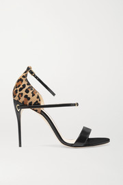 Rolando leopard-print calf hair and leather sandals