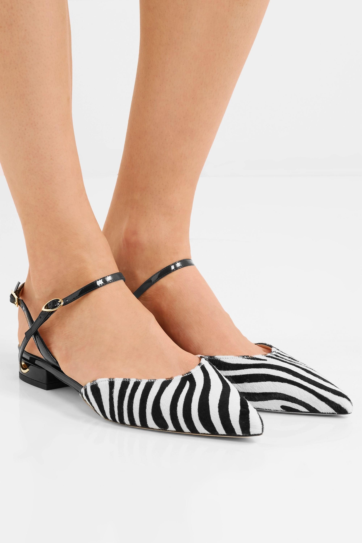 Jennifer Chamandi Vittorio zebra-print calf hair and patent-leather slingback point-toe flats