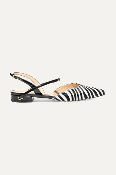 Jennifer Chamandi - Vittorio Zebra-print Calf Hair And Patent-leather Point-toe Flats - Zebra print