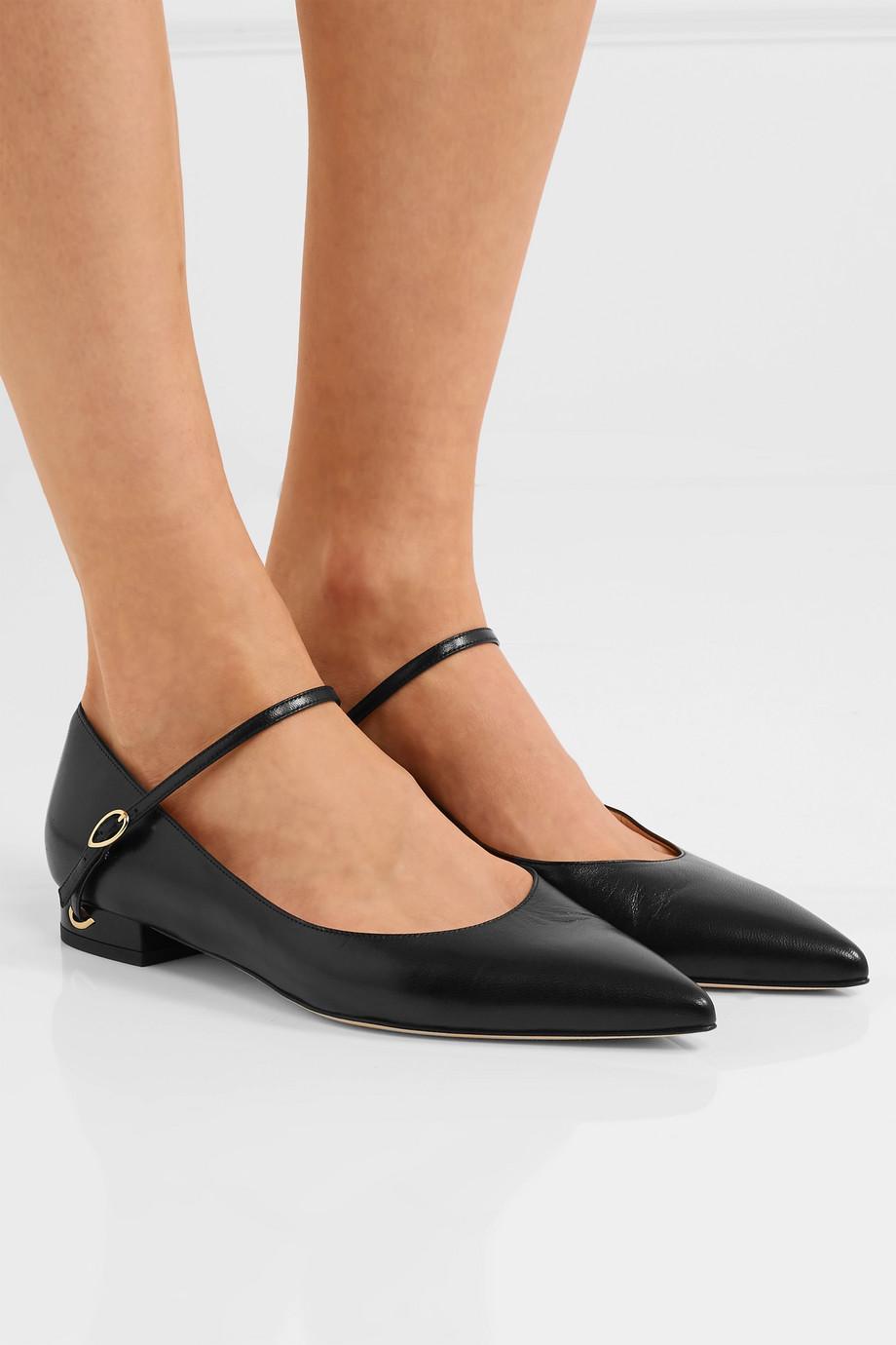 Jennifer Chamandi Lorenzo leather point-toe flats