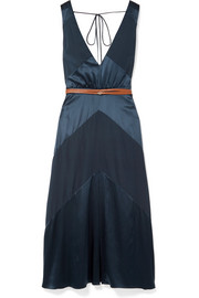 Thursday belted silk-blend satin and crepe de chine midi dress