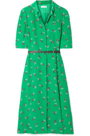 Wednesday belted printed silk crepe de chine shirt dress