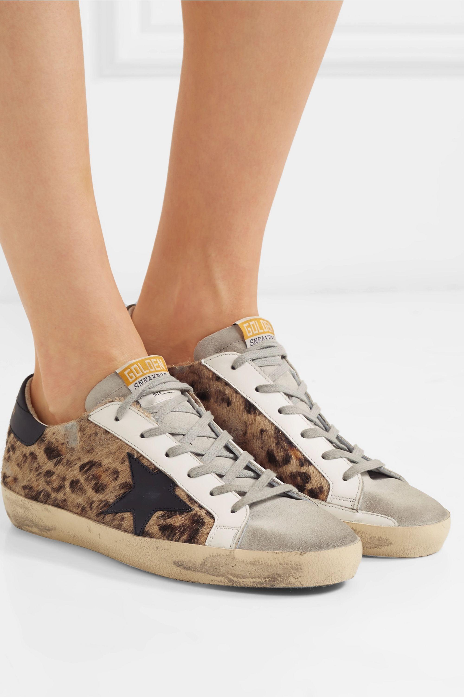 Golden Goose Baskets en façon poulain à imprimé léopard, daim et cuir effet vieilli Superstar