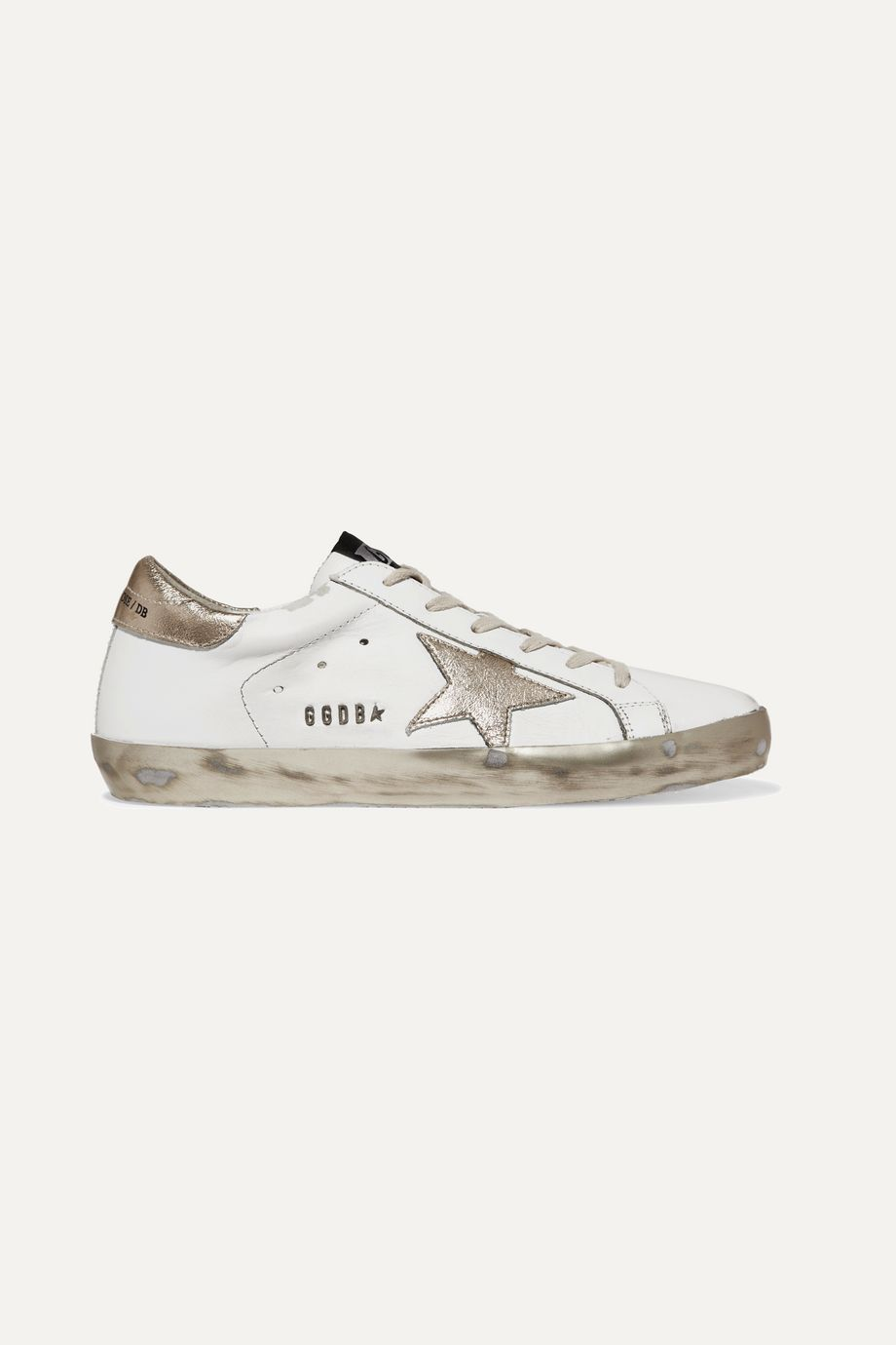 Superstar distressed leather sneakers by Golden Goose, available on net-a-porter.com for $515 Alessandra Ambrosio Shoes Exact Product