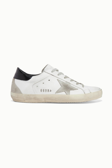 Superstar Distressed Leather And Suede Sneakers in White