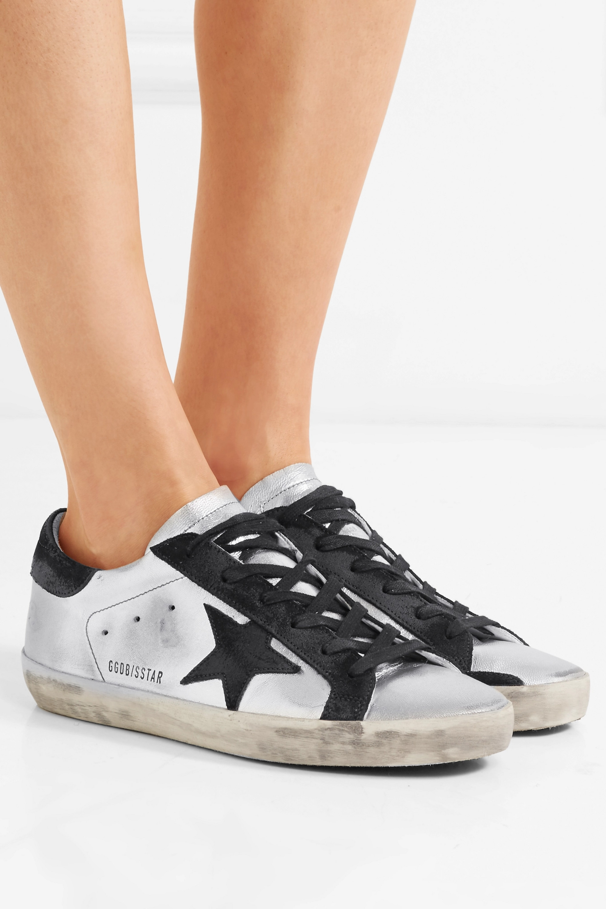 White Superstar distressed leather and