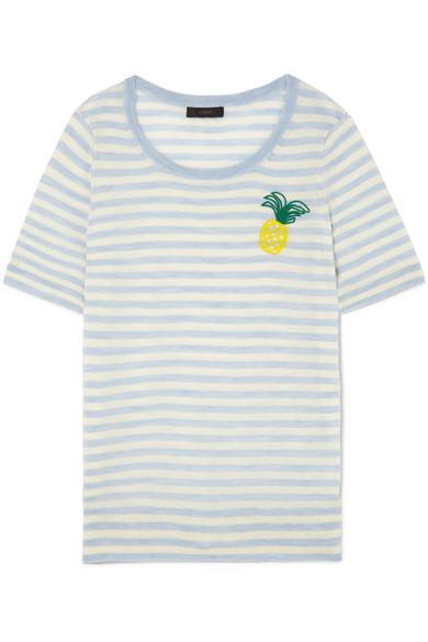 J.Crew - Embroidered Striped Merino Wool T-shirt - Sky blue