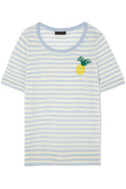 J.Crew Embroidered striped merino wool T-shirt