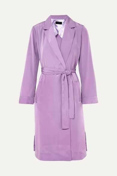 J.Crew - Belted Satin Coat - Lilac