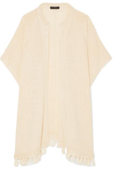 Haven Tasseled Linen Cardigan, Cream