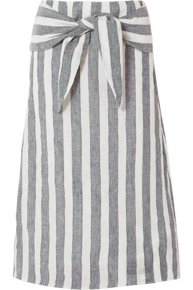 J.Crew - Shipwreck Striped Linen Midi Skirt - Blue