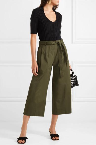 Khaki Wide Leg Culottes