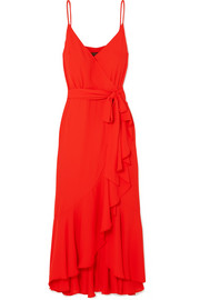 Wrap-effect ruffled crepe de chine midi dress