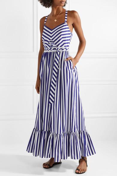 J Crew Ruffled Striped Cotton Poplin Maxi Dress