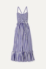 J.Crew Ruffled striped cotton-poplin maxi dress
