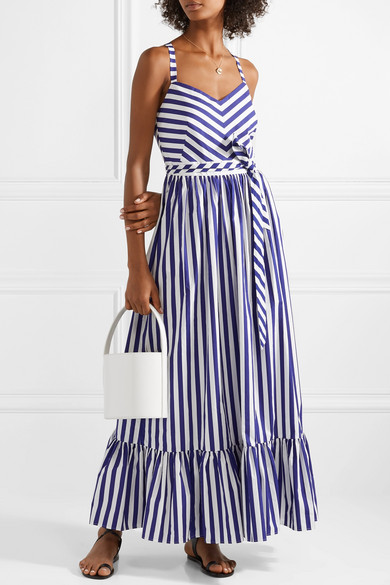57259dc3209 J.Crew. Ruffled striped cotton-poplin maxi dress