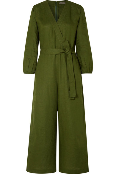 J.Crew - Fontana Belted Wrap-effect Linen Jumpsuit - Army green