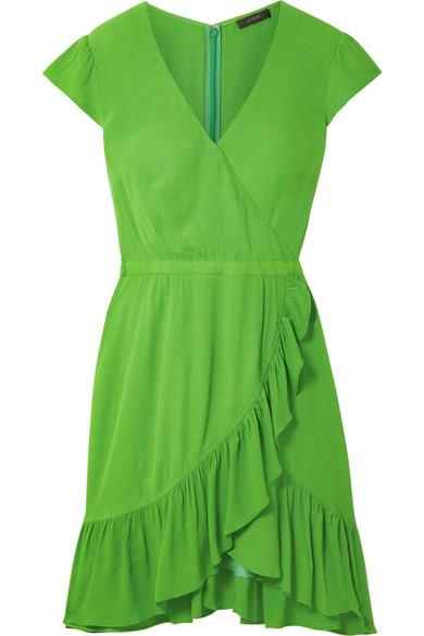 J.Crew - Fawn Wrap-effect Ruffled Crepe Mini Dress - Bright green