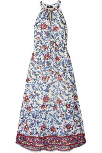 J.Crew - Ruffle-trimmed Floral-print Cotton-voile Maxi Dress - Blue
