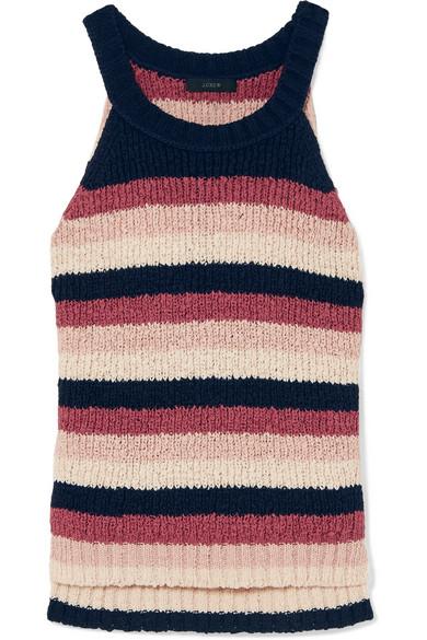 J.Crew - Striped Cotton-blend Tank - Pink