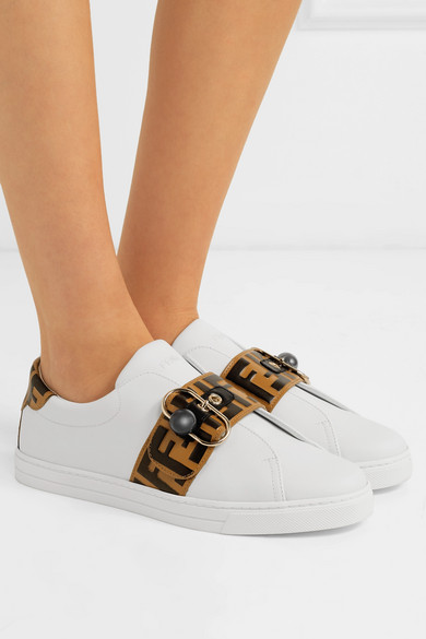 edd41499068a Fendi. Logo-embossed leather sneakers