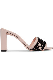 Fendi Logo-flocked velvet and leather mules