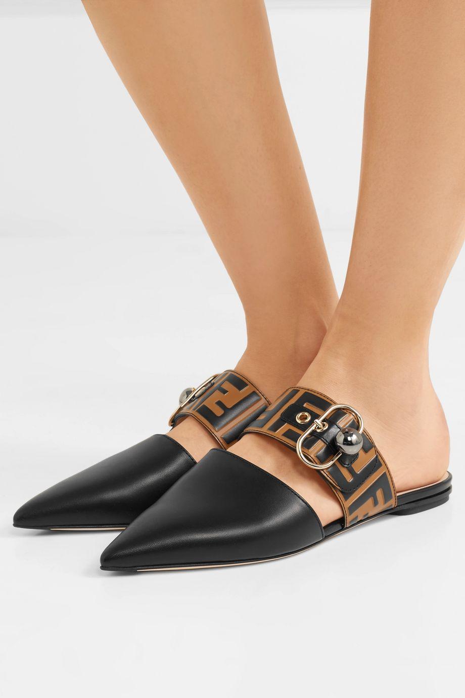 Fendi Embellished logo-embossed leather slippers