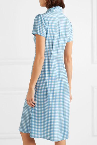 Morgan Gingham Silk Crepe De Chine Midi Dress - Blue HVN Cheap Sale Get Authentic Wholesale Price Sale Online XZF61O