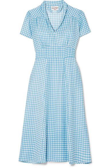 HVN Morgan Gingham Silk Crepe De Chine Midi Dress in Blue