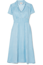 HVN Morgan gingham silk crepe de chine midi dress