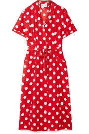 HVN Maria polka-dot silk crepe de chine dress