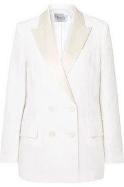 Casablanca double-breasted satin-trimmed linen blazer