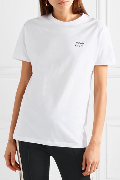 Ouais Droite Nyc Ouais Droite Besticktes T-shirt Aus Baumwoll-jersey
