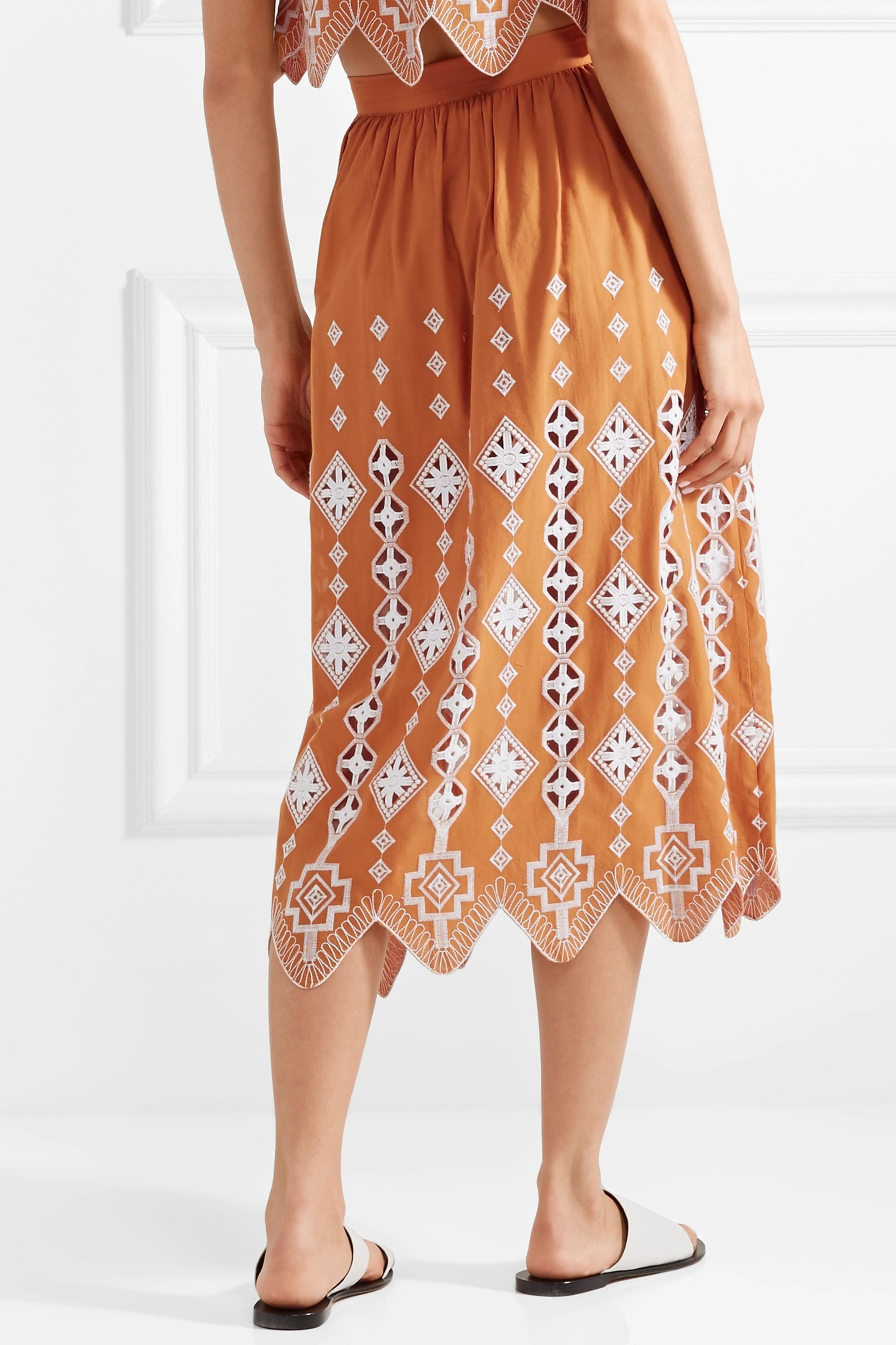 Miguelina Carolyn broderie anglaise-trimmed cotton midi skirt