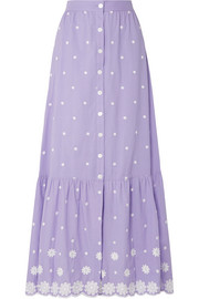 Aiden embroidered cotton-voile maxi skirt