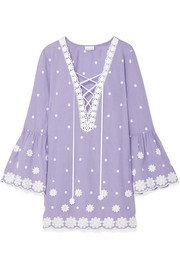 Laure embroidered cotton-voile mini dress