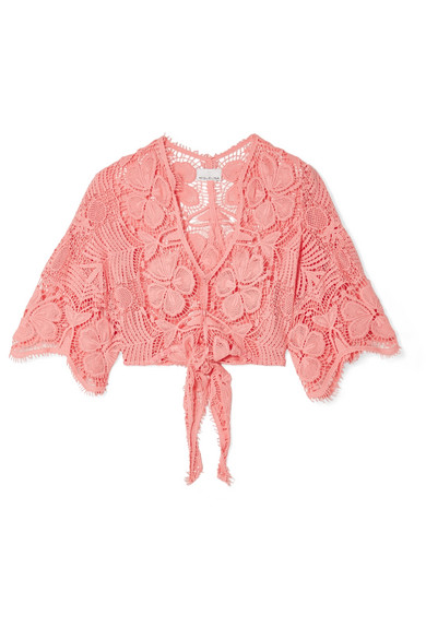Alma Tie-Front Crocheted Cotton-Lace Top in Coral