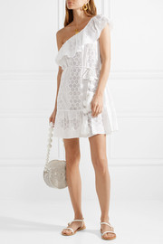 Summer one-shoulder crocheted cotton-voile mini dress